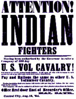 A poster seeking volunteers for the mission that would become the Sand Creek Massacre.