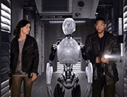 Artificial intelligence: Bridget Moynahan, Sonny the  Robot and Will Smith team up in I, Robot.