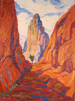 """Sentinel, Garden of the Gods,"" Birger Sandzén, oil on canvas."