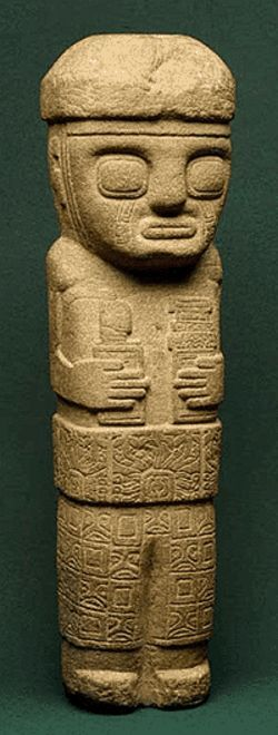 """Miniature Ancestor Figure,"" carved stone in the  Tiwanaku style."