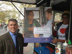 Scott Gessler promoting his voter-registration ad campaign this fall on the mall.