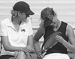 DU tennis coach Dana Young (left) with freshman star  Rachel Sackmaster.