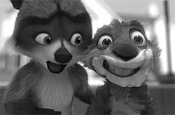 RJ the raccoon and his buddy the squirrel will send  you Over the Hedge.
