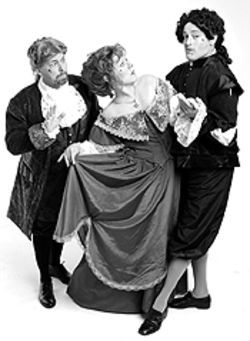 Marlin May, Deborah Marie Hlinka and Bruce K.  Freestone in Tartuffe.