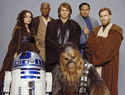 The gang's all here: Natalie Portman, Samuel L.  Jackson, Hayden Christensen, Jimmy Smits, Ewan  McGregor, R2-D2 and Peter Mayhew (as  Chewbacca) on the set of Stars Wars Episode III:  Revenge of the Sith.