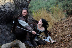 Chris Hemsworth and Kristen Stewart star in Snow White and the Huntsman.