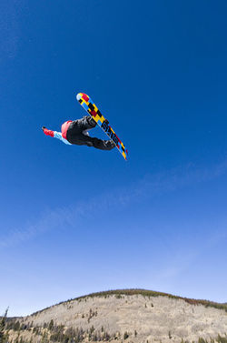 Up in the air: Steve Fisher warms up for the Grand Prix in Copper Mountain's superpipe.