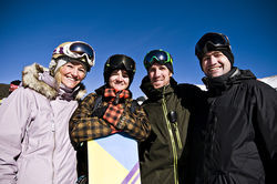 Olympic medalists Gretchen Bleiler (from left) and Kelly Clark with U.S. Snowboarding coaches Mike Jankowski and Ricky Bower.