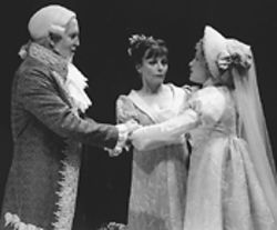 John Innes, Robin Moseley and Morgan Hallett in Much Ado About Nothing.