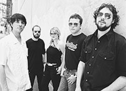 Dixie fried: Mike Cooley (from left), Brad Morgan,  Shonna Tucker, Jason Isbell and Patterson Hood are  Drive By Truckers.