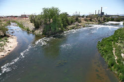 The South Platte separates the Taxi development from the rest of River North; the confluence of Sand Creek and the South Platte (shown), where Suncor Energy is seeking to contain a benzene plume. Video: Take a fast-forward ride down the South Platte River trail