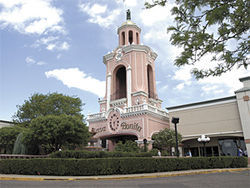 Casa Bonita is painted an appropriate Pepto-Bismol pink.