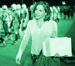 No shoulder pads necessary: Channel 9's Carol Maloney holds the line.