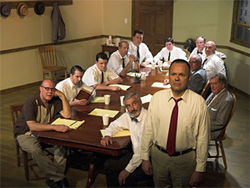 The cast of Spotlight Theatre&#039;s production of Twelve Angry Men.