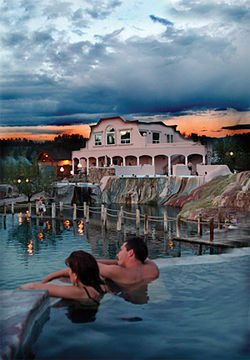 The Springs Resort offers terraced pools overlooking the river — and a great sunset.
