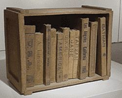 """Box of Books,"" by Maynard Tischler, wood-fired  ceramic."