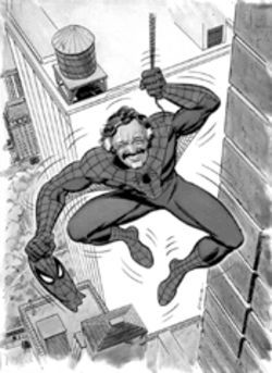 Though Steve Ditko co-created Spider-Man, Stan Lee  is generally recognized as his father, as Marvel  illustrator John Romita made clear in this illustration.