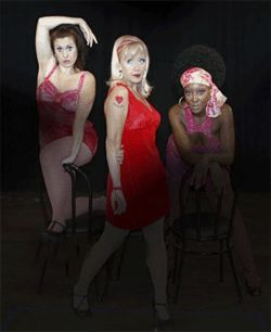 Joanie Brosseau-Beyette (from left), Alicia Dunfee  and Lea L. Chapman make prostitution look cute in < i>Sweet Charity.