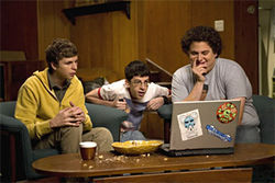 Michael Cera (left), Christopher Mintz-Plasse (middle) and Jonah Hill are Superbad.