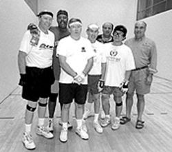 John Wren (far right) and a group of YMCA handball players.