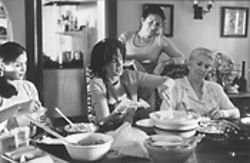 Maria Carmen (from left), Mercedes Ruehl, Ava Rodriguez and Elena Lopez in What's Cooking?