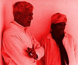 The sheltering high: Hill's photo of Bowles smoking kif with his protegé, Mohammed Mrabet, in 1979.