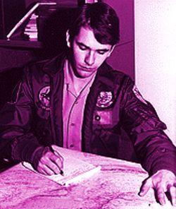 "Yin and yang: Ensign Lee Hill allegedly ""preparing a squadron briefing"" in the early '80s..."