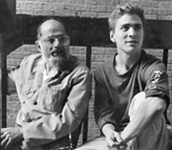 Allen Ginsberg and his proteg, Peter Hale, at an early Naropa summer session.
