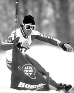 Working form: Chris won the 1997 U.S. Open giant slalom competition.