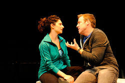 Makela Spielman (left) and Ian Merrill Peakes in The Catch.