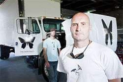 Keep on truckin': Denver radio pirates Jeremy Gregory (front) and Mark Risius.
