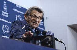 Joe Paterno on October 25 at a press conference. This image from the Penn State website.