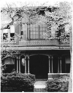 """Home of Misses Evans,"" by Myron Wood, black-and-white photograph."