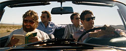 Zach Galifianakis (front left), Bradley Cooper, Ed Helms and Justin Bartha star in The Hangover.