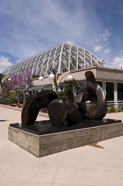 """Three Piece Reclining Figure: Draped,"" by Henry Moore, bronze."