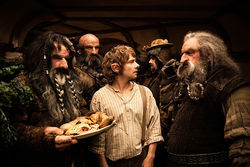 Martin Freeman (center) plays Bilbo Baggins in The Hobbit.