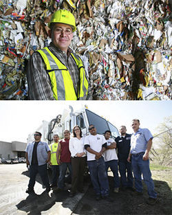 High on fiber: Waste Management operations manager Jose Herrera (above) says the move to single stream quadrupled his workforce; Denver&#039;s recycling czar, Charlotte Pitt (right, flanked by city employees), found that automated trucks reduced injuries.