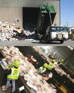 The junk stops here: Trucks from across the Front Range unload at Denver's single-stream recycling plant (above); inside, workers sort through thirty tons of recyclables an hour.