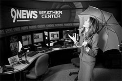 Viewers want to know why Kathy Sabine has to be so damn chipper when reporting the snow.