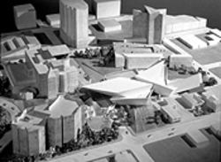 Daniel Libeskind&#039;s site model for the Denver Art Museum expansion.