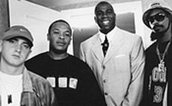 Eminem, Dr. Dre and Snoop Doggy Dogg were the stars of the Up In Smoke tour, presented by the ever-smiley Magic Johnson.