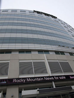The Rocky Mountain News announces it is for sale.