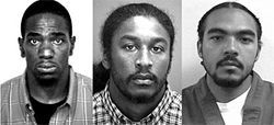 Michael Asberry (left), Fredrick Abram and Cedric Watkins faced the cameras for the cops.