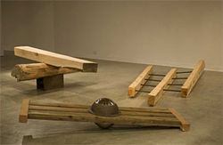 "Installation view of ""Childsplay,"" by Kim Ferrer, wood and metal."