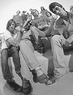 Avenging angels: Shad Spencer (front row, from left),  Kathi Pell, Eddie Gann and Mark Spencer hang with  the rest of the Advocate Skateboards team.