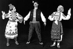 The Tamburitzans of Duquesne University wind up for  a performance Sunday at Chautauqua Auditorium.