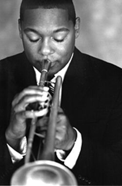 Trumpet card: Jazzman Wynton Marsalis and the  Lincoln Center Jazz Orchestra perform at Boettcher  Hall Sunday.