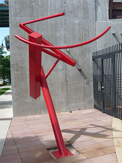 """Mitnal,"" by David Mazza, powder-coated steel."