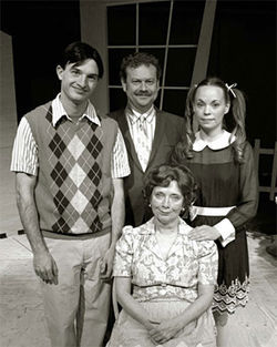 Ben Dicke (from left), John Arp, Billie McBride (seated) and Misha Johnson star in The Skin of Our Teeth.