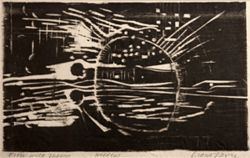 """Moon With Moons,"" by Diana Vavra, woodcut."